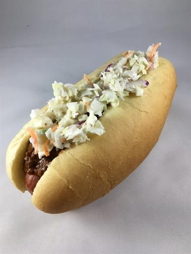 Carolina Slaw Dog~ chili and our house made coleslaw