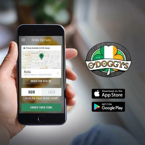 Download and order from our app!  Text ODOGGYS to 33733 to download.