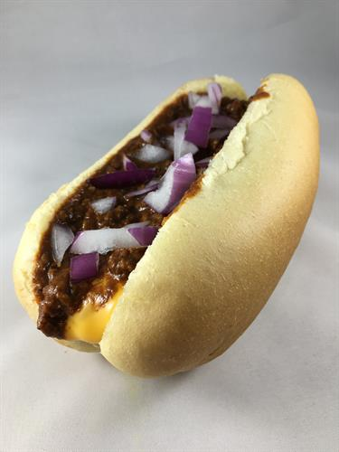 Chili Cheese Dog~ the classic chili and cheese... we'll even add onions if you'd like.