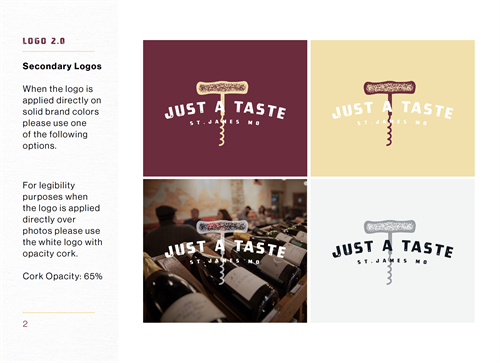 Just A Taste branding style guide (sample page)