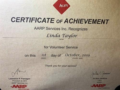 AARP Recognition for achievement
