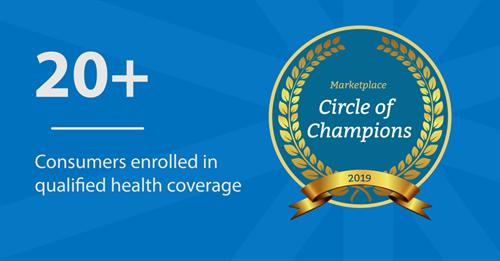 ACA Marketplace Circle of Champions three years.