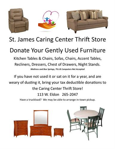 Donate your furniture... table, chair, sofa, lamps, beds... we accept everything except mattresses, box springs, TVs or computers.