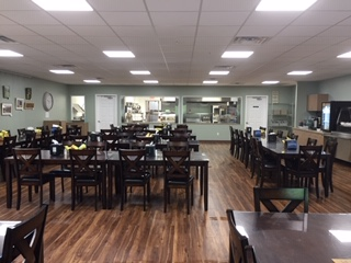 Beautiful dining hall and delicious food served at the St. James Senior Center.