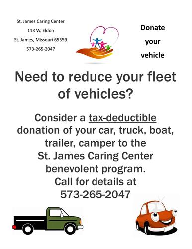 Have vehicle you are no longer using.  Camper, trailer, truck, car?   Consider donating to the St. James Caring Center.