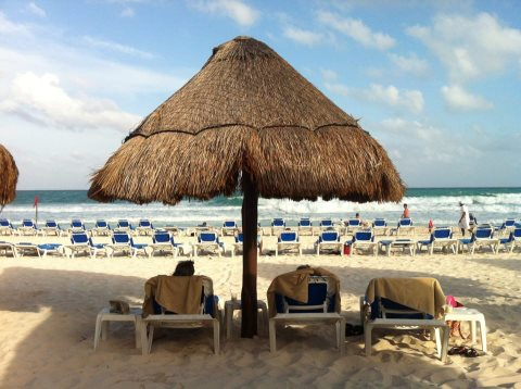 On the beach in the Riviera Maya