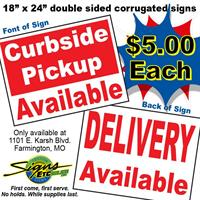 Signs Etc. Offering $5 ''Curbside Pick-Up & Delivery'' Signs For Your Business