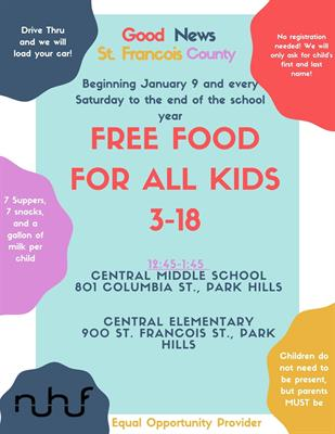 FREE FOOD - For All Central Students Age 3-18