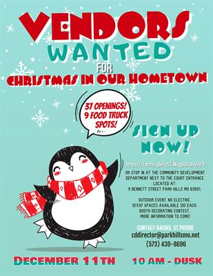 Vendors Wanted for Christmas in Our Hometown!!