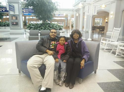 Terrance at the Airport with my Mother and Daughter