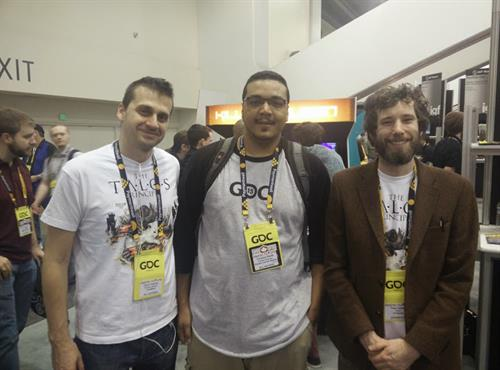 "Terrance  with a couple of the folks that made the game ""The Talos Principle"""