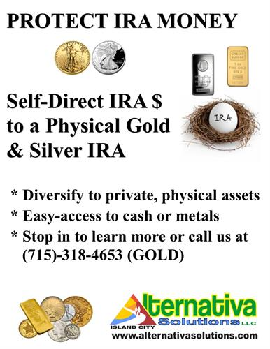 Specializing in IRA self-direction of funds to purchase Physical Gold and Silver