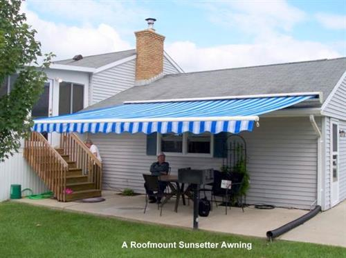 A roofmount awnings provides shade and comfort