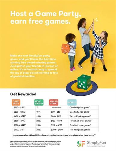 Host a Game Party and Earn Rewards, plus Additional Host Specials each month!