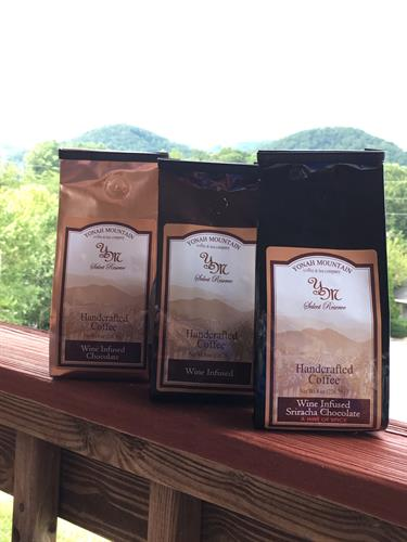 Wine infused coffee. Made in Helen, GA.