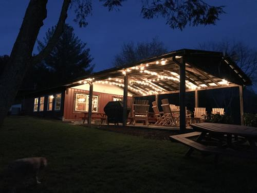 Music Barn and Gathering Room at night