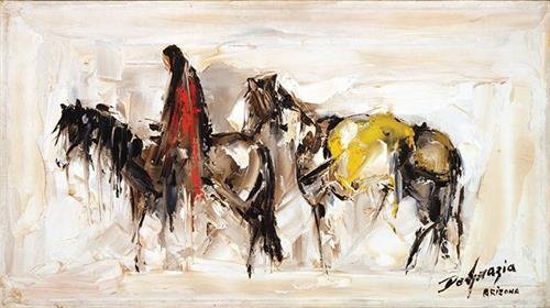 "DeGrazia's ""Alone"", oil on canvas."