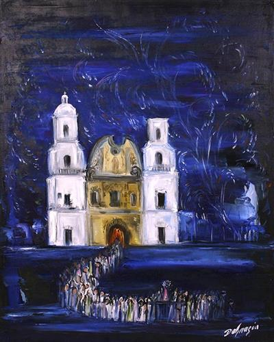 "DeGrazia's ""Fiesta at San Xavier"", oil on canvas."