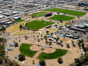 Aerial of the Kino Sports Complex, north soccer fields