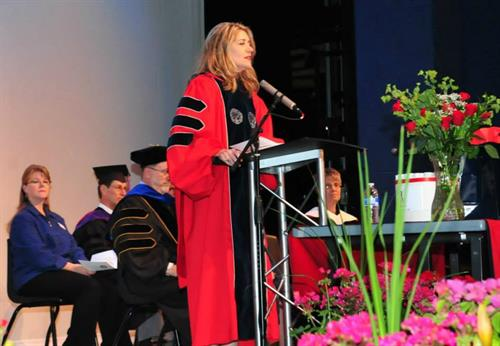 Arizona Board of Regents' President Eileen Klein speaks to the UA South Class of 2013.