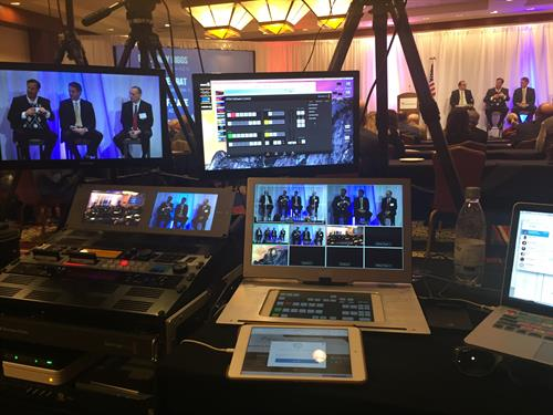 Jeff Producing multi-camera live broadcast for national client's conference.