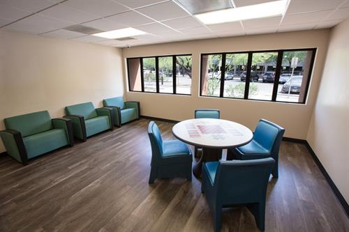 Our day rooms on each unit provide an inviting place to do group work, or rest outside of your room.