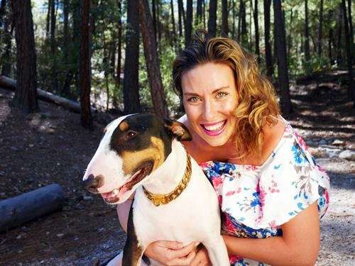 Dr. Anna Blessing, PhD and Pepe Tucson Biofeedback's Therapy Dog