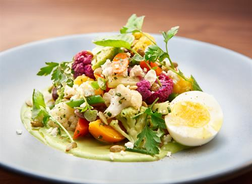Chopped salad with green goddess dressing.