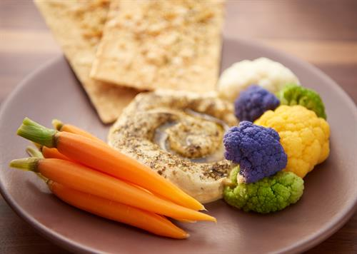 Hummus with market vegetables and lavash toast.