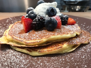 Lemon Ricotta Pancakes with berries.