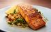 Plancha-cooked salmon with tabbouleh salad and basil dressing.