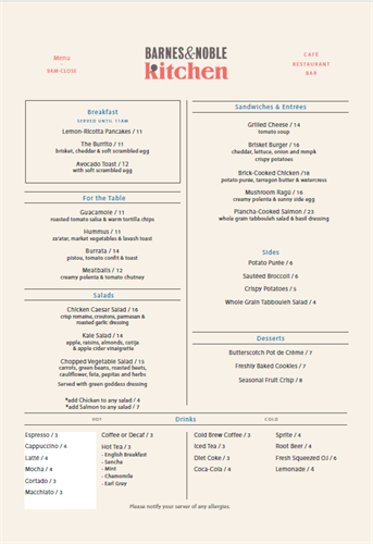 Our menu is updated seasonally.