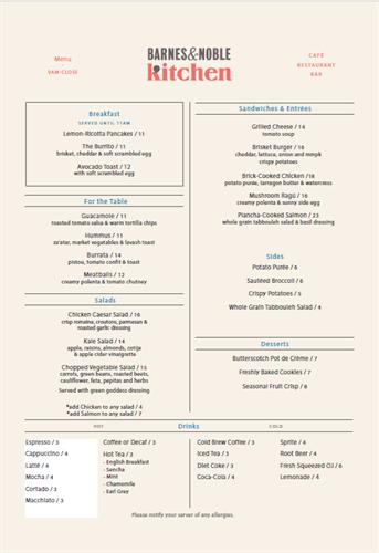 Our menu is updated seasonally.