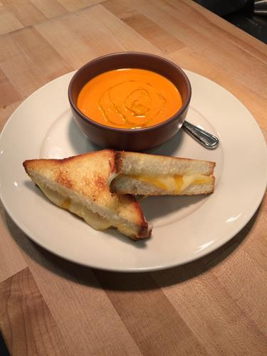 Grilled cheese on Rustica bread with scrumptious tomato soup.