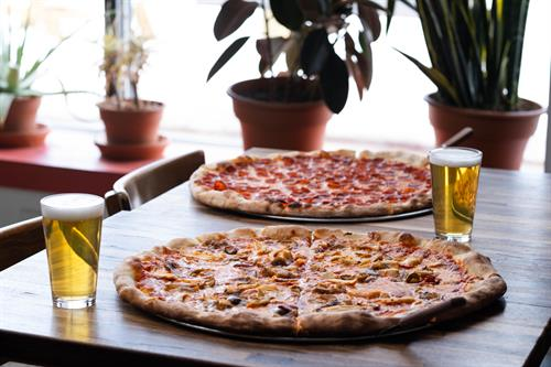 Pizza and draft beer at Luigi's West End Pizzeria