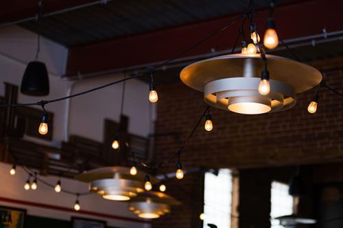 Vintage lighting at Luigi's West End Pizzeria