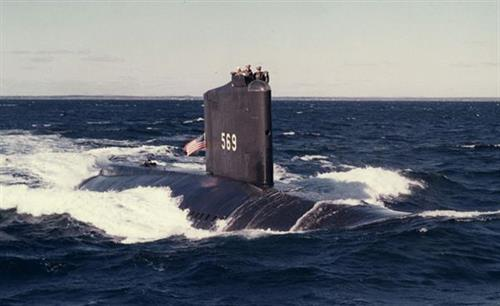 USS Albacore underway