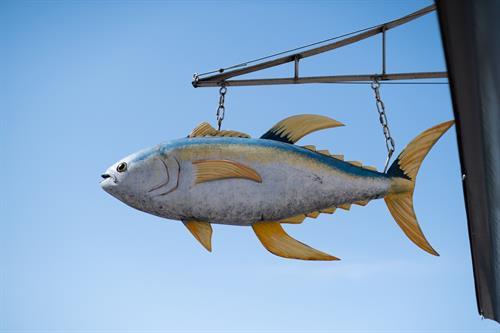 Hanging wooden fish at Jumpin' Jay's Fish Cafe