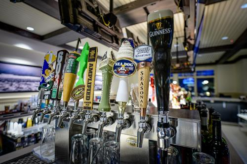 Many types of beer on tap; craft beers; domestic.  Quite a variety!