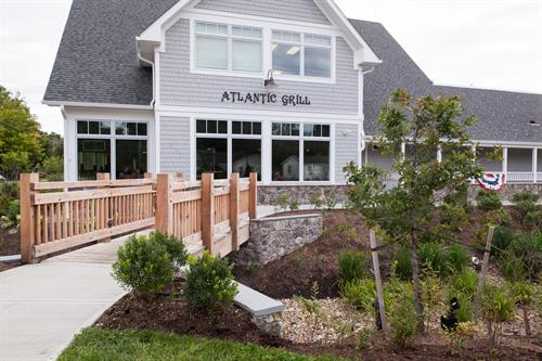 Beautiful outside rain gardens to overlook while dining inside.