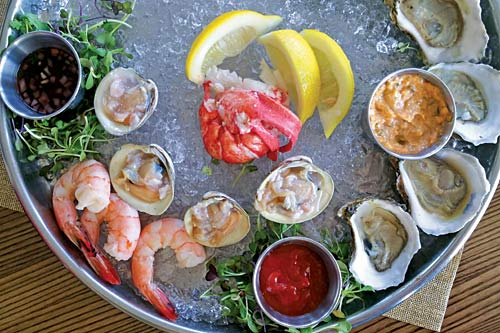 Raw bar and other fresh locally-sourced seafood selections.