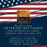 Thousands of complimentary lunches to be served on Veterans Day at four Tuscan locations