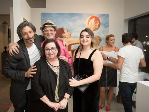 "Andres Conde, Richard Alan Lehrman, Sheila Duffy Lehrman, and Lexi Lehrman at the opening of ""Work""."