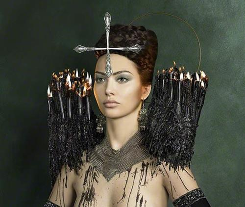 "Detail ""Four Vengeances of St. Olga"" by Natasha Kertes, model Sophia Conde.  (Miami Beach)"