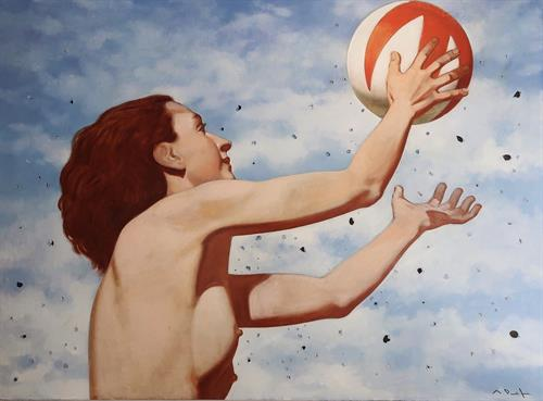 """Sky, Biological Heritage"", oil on canvas with gunshot by Leonid Rotar. (Miami Beach)"