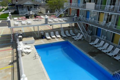 View from 3rd floor of pool and sundeck