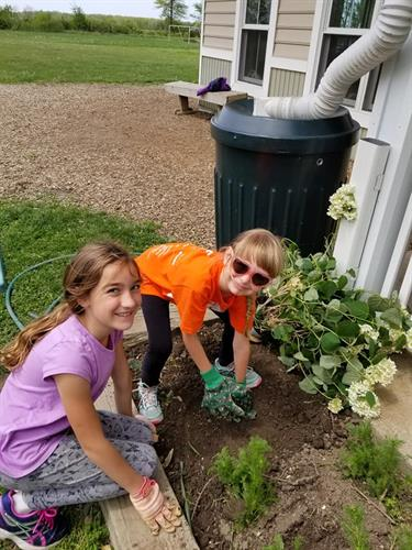 MMS elementary students beautify their flower beds during the spring edition of The Big Clean.