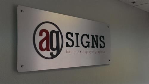 Lobby sign made of aluminum and plexi glass