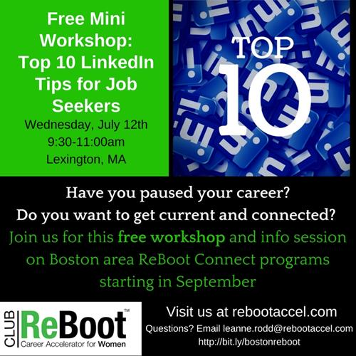 Free Resources For Job Seekers: Mini Workshop And Info Session: Top 10 LinkedIn Tips For