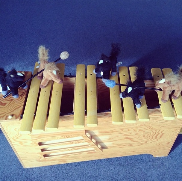 "Horsing around in the key of ""C"" with the bass glockenspiel"